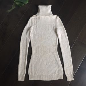 Theory grey pointelle turtleneck sweater XS